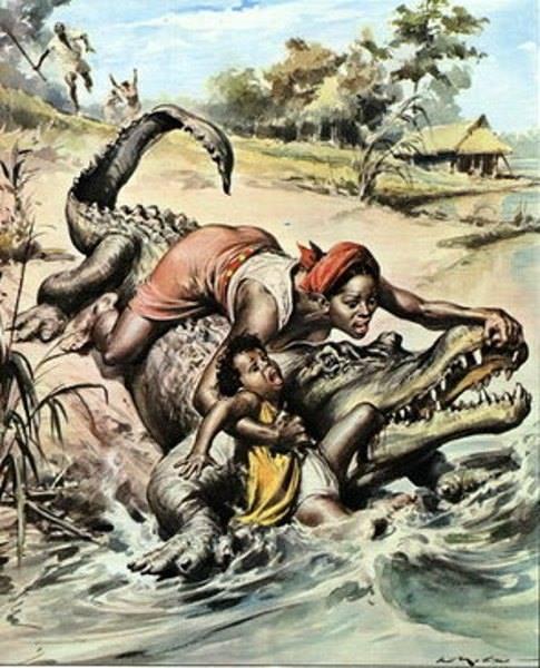 Walter Molino : un crocodile qui emporte un bébé