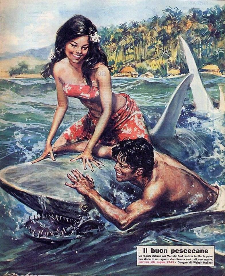 Walter Molino : une vahiné sympa sur un requin sympa